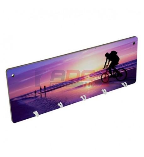 Panneau porte-clés mural MDF 28 x 10 cm avec 5 crochets (vendu à l'unité)