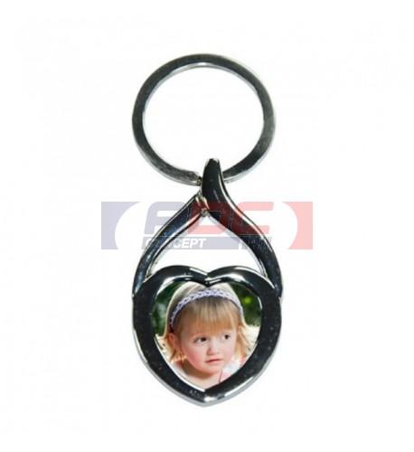 Porte-clé original coeur en métal chromé avec plaque alu coeur 23 mm (vendu à l'unité)