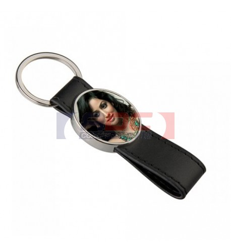 Porte-clé lanière en polyuréthane avec plaque aluminium ovale 2,7 x 3,1 cm