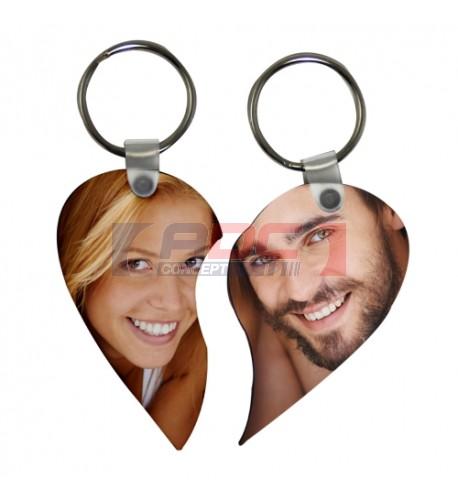 Porte-clé en MDF blanc brillant format double coeur (vendu à l'unité)