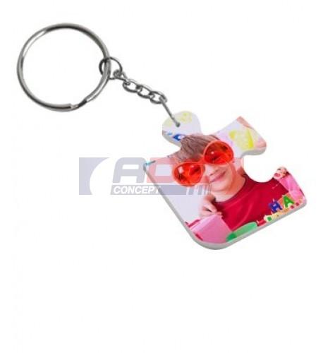 Porte-clé polymère blanc brillant puzzle 3,3 x 4,1 cm