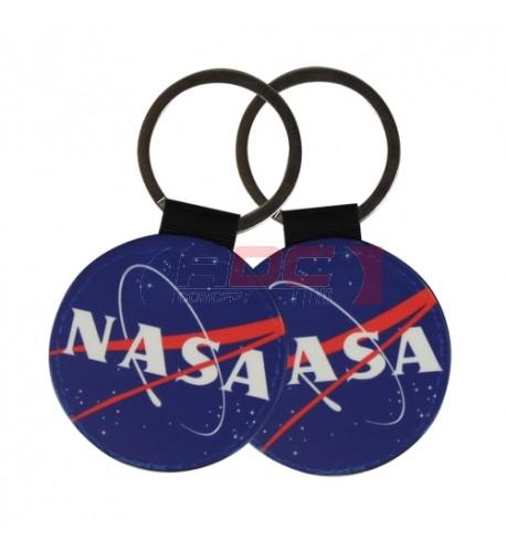 Porte-clé en simili cuir forme ronde Ø 5 cm marquage recto/verso (vendu à l'unité)