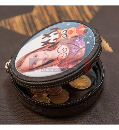 Porte monnaie rond noir en toile Ø 9 cm - Epaisseur 3 cm (vendu à l'unité)