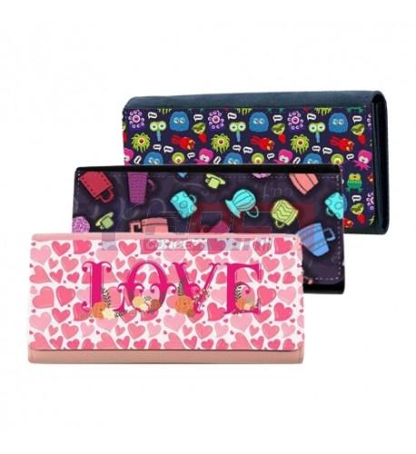 Portefeuille 19 x 10 cm en imitation cuir : 3 couleurs rose, bleu et noir