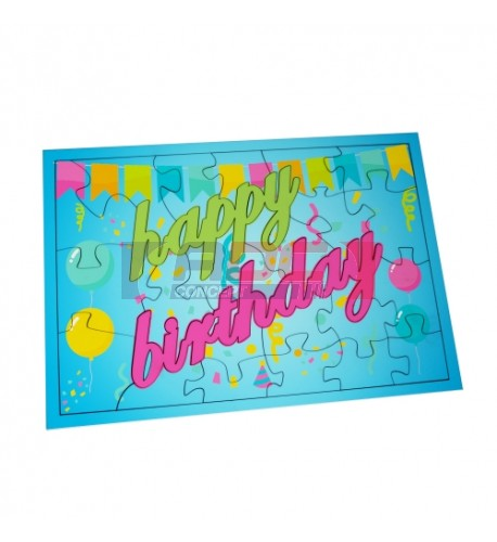 Puzzle MDF blanc brillant Happy Birthday - 24 pièces