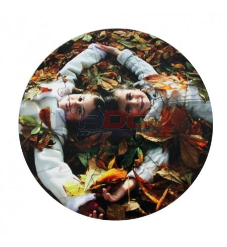 Puzzle rond Ø 17 cm 24 pièces MDF blanc brillant
