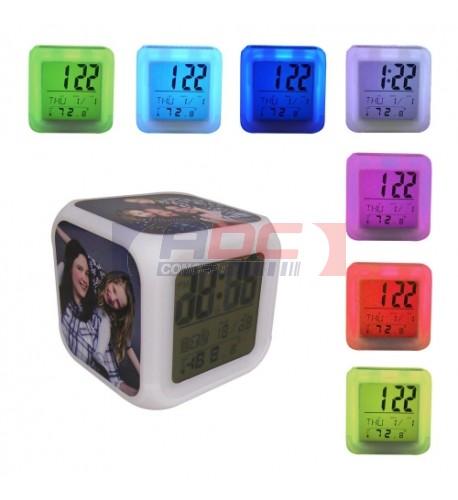Réveil cube lumineux éclairage led avec 3 plaques sublimables