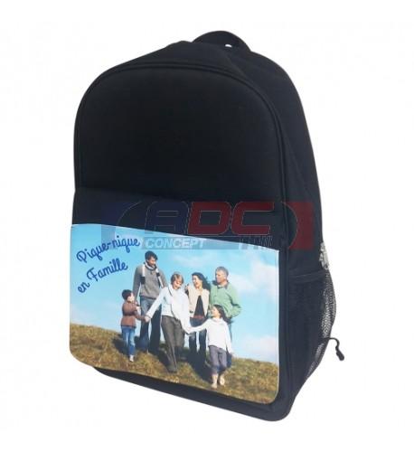 Sac à dos noir 30 x 45 x 17 cm avec rabat détachable capitonné et imperméable Luxe (vendu à l'unité)