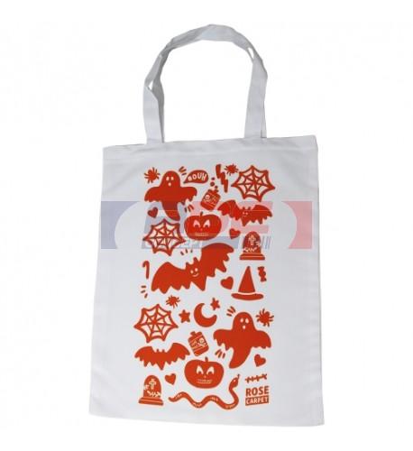 Sac shopping effet serge 100% polyester blanc format 35 x 41 cm (vendu à l'unité)