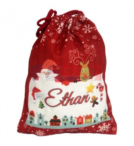 Sac de Noël en toile de chanvre rouge 50 x 66 cm pour sublimation