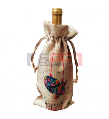 Sac pour bouteille de Noël en tissu imitation chanvre beige - 17 x 34 cm (vendu à l'unité)