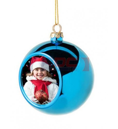 Boule de Noël Ø6 cm coloris bleu à suspendre avec plaque sublimable