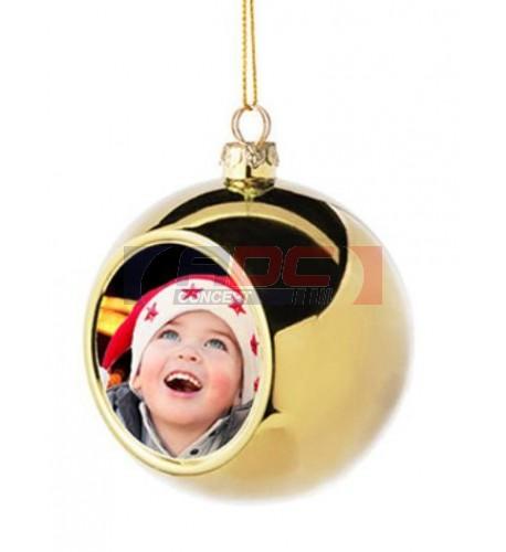 Boule de Noël Ø6 cm coloris or à suspendre avec plaque sublimable