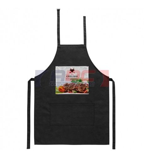 Tablier de cuisine noir 60 x 85 cm avec zone personnalisable en sublimation