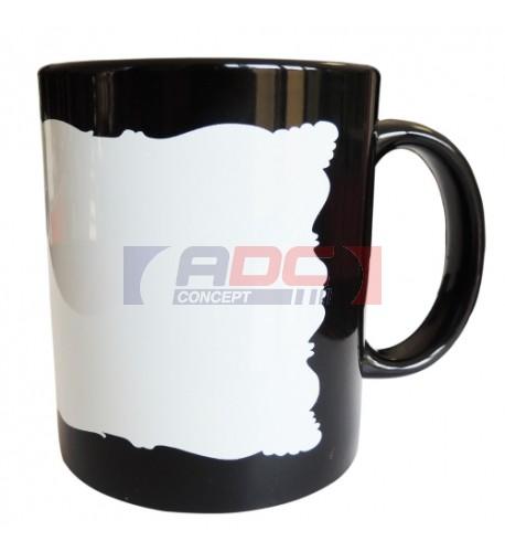 Mug noir Ø 8 cm avec surface blanche de forme originale