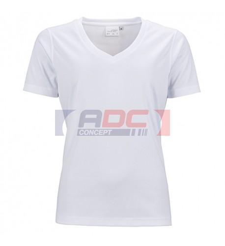 Tee-shirt sport blanc femme col V 150 gr/m² simple jersey XS à XXXL 100% polyester