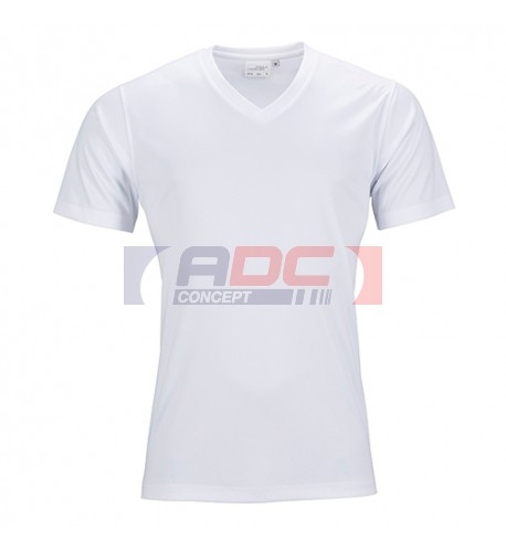 Tee-shirt sport blanc homme col V 150 gr/m² simple jersey S à XXXL 100% polyester