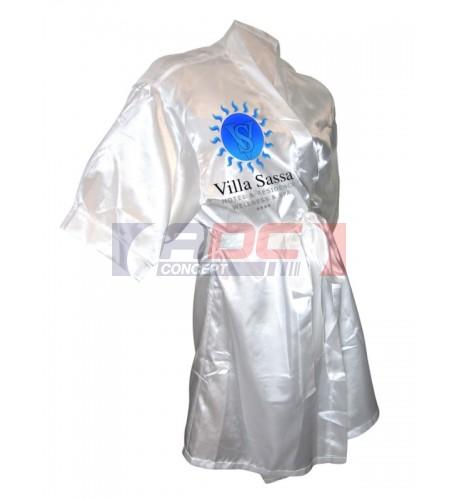 Kimono 100% satin polyester blanc - Taille unique