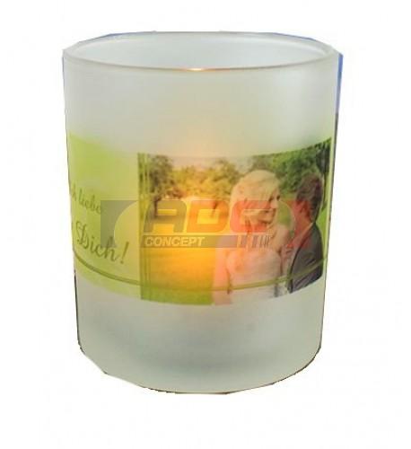 Bougeoir en verre givré pour bougie Ø 7 cm H 8 cm (vendu à l'unité)