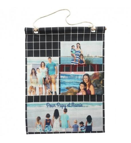 Vide-poche mural à carreaux avec poches sublimables aspect lin écru