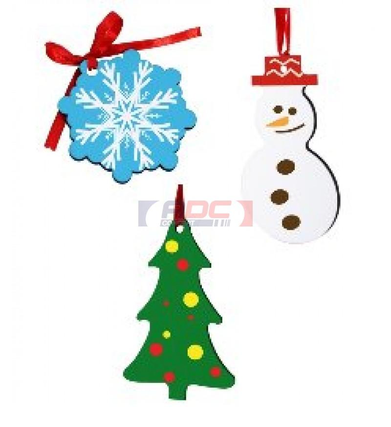 Bonhomme de neige d coration blanche suspendre mdf adc for Decoration porte bonhomme de neige