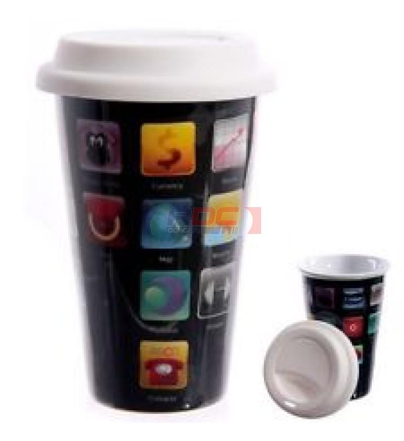 mug en c ramique conique avec couvercle adc concept. Black Bedroom Furniture Sets. Home Design Ideas