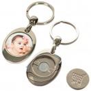 Porte-clé en métal argenté rond sublimable avec jeton de caddie 3 x 8,5 cm