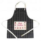 Tablier de cuisine à carreaux en coton naturel avec poche en lin sublimable
