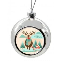 Boule de Noël Ø 8 cm coloris argent à suspendre avec plaque sublimable