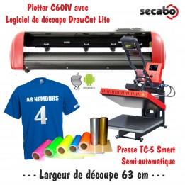 Atelier Textile C60IV avec presse semi automatique TC-5 Smart Bluetooth 38 x 38 cm