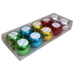 Boite comprenant 10 boules de Noël plastiques Ø 8 cm coloris panaché
