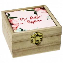 Boite en bois 10,7 x 10,7 x 5,9 cm avec plaque alu HDF personnalisable