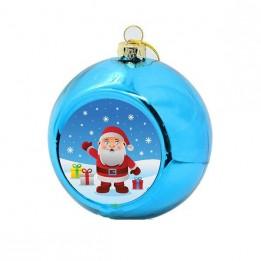 Boule de Noël Ø 8 cm coloris bleue à suspendre avec plaque sublimable