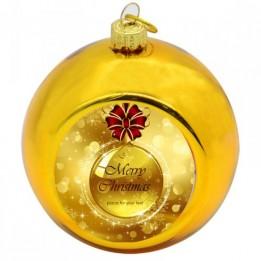 Boule de Noël Ø 8 cm coloris or à suspendre avec plaque sublimable