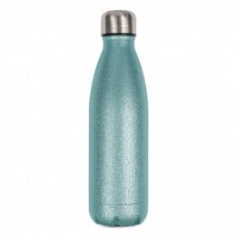 Bouteille isotherme en inox avec surface effet Spark Glitter bleu ciel 500 ml et bouchon à vis (vendu à l'unité)