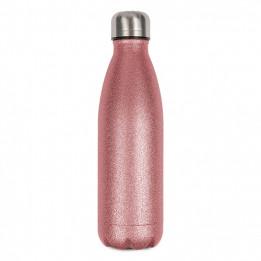 Bouteille isotherme en inox avec surface effet Spark Glitter rose 500 ml et bouchon à vis (vendu à l'unité)