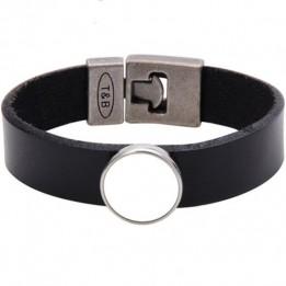 Bracelet en cuir noir 2 x 21 cm avec plaque aluminium Ø 18 mm (vendu à l'unité)