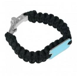 Bracelet en paracorde noir avec manille métal