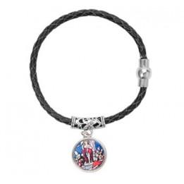 Bracelet tressé en cuir noir avec pendentif et plaque alu Ø 18 mm
