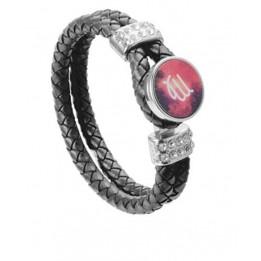 Bracelet tressé en cuir noir avec plaque aluminium Ø 18 mm