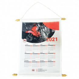 Calendrier mural ou fanion en tissu 100% polyester 49 x 34.5 cm (vendu à l'unité)