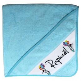Cape de bain en coton éponge bleu pour enfant avec capuche et bande sublimable blanche (vendu à l'unité)