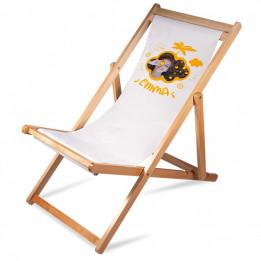 Chaise longue pliante en bois de bouleau avec tissu sublimable