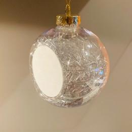 Boule de Noël Ø 8 cm aux cheveux d'anges argentés avec plaque alu (vendu à l'unité)