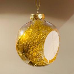 Boule de Noël Ø 8 cm aux cheveux d'anges dorés avec plaque alu (vendu à l'unité)
