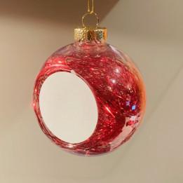 Boule de Noël Ø 8 cm aux cheveux d'anges rouges avec plaque alu (vendu à l'unité)