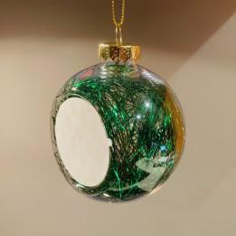 Boule de Noël Ø 8 cm aux cheveux d'anges verts avec plaque alu (vendu à l'unité)