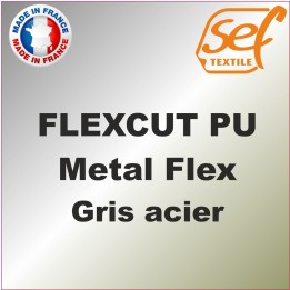 PU Métalflex Gris Acier Métal - Vinyle thermocollant 60 microns