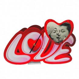 Horloge de bureau MDF forme coeur LOVE 39 x 24,5 cm épaisseur 3 mm (vendu à l'unité)