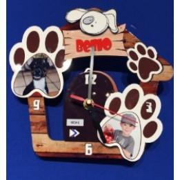 Horloge murale modèle chien avec 2 visuels